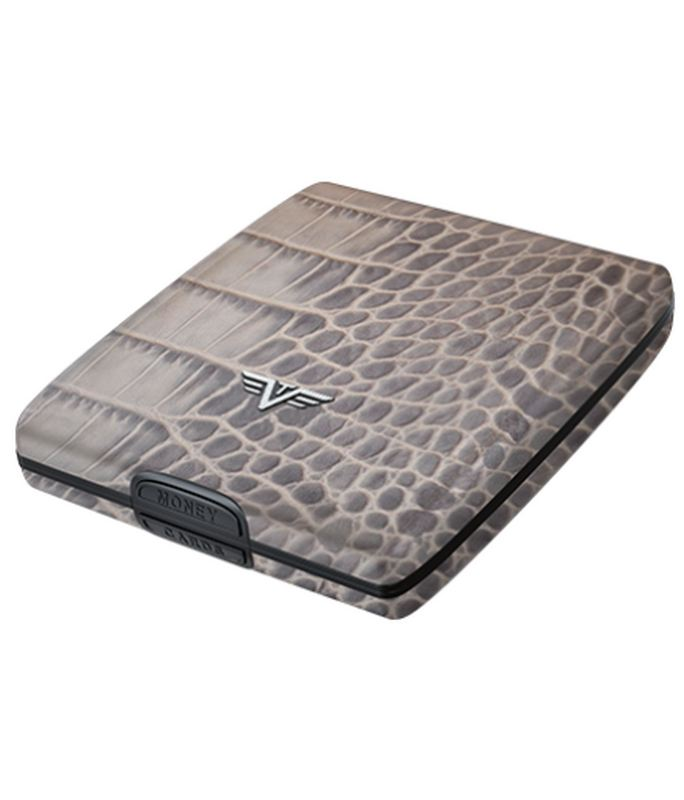 TRU VIRTU Money and Cards Case Hi-Tech Πορτοφόλι αλουμινίου (Croco Taupe) Leather Line Leather Line
