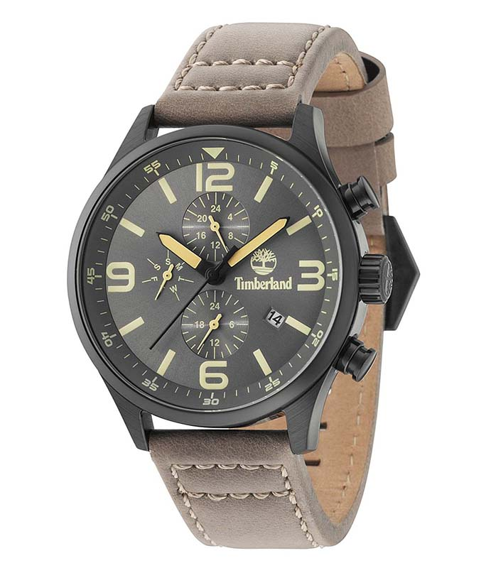 TIMBERLAND Dual Time Brown Leather Strap TBL15266JSB/79 Timberland Ανδρικά
