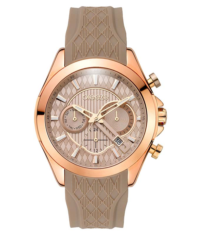 BREEZE Ferosh Rose Gold Beige Rubber Strap 110801.6 Breeze Γυναικεία