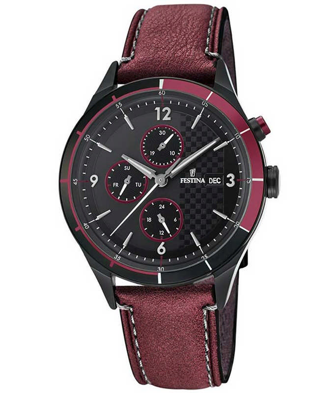FESTINA Multifunction Red Leather Strap F16994/3 Festina Ανδρικά