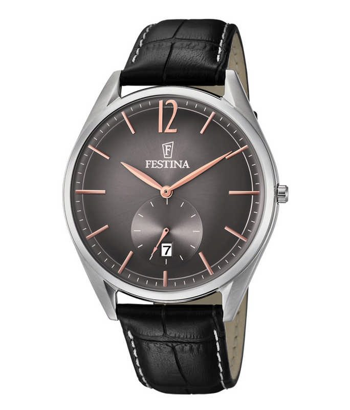 Festina Vintage Black Leather Strap F6857/6 Festina Ανδρικά