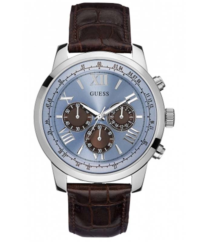 GUESS Horizon Brown Leather Strap W0380G6 Guess Ανδρικά