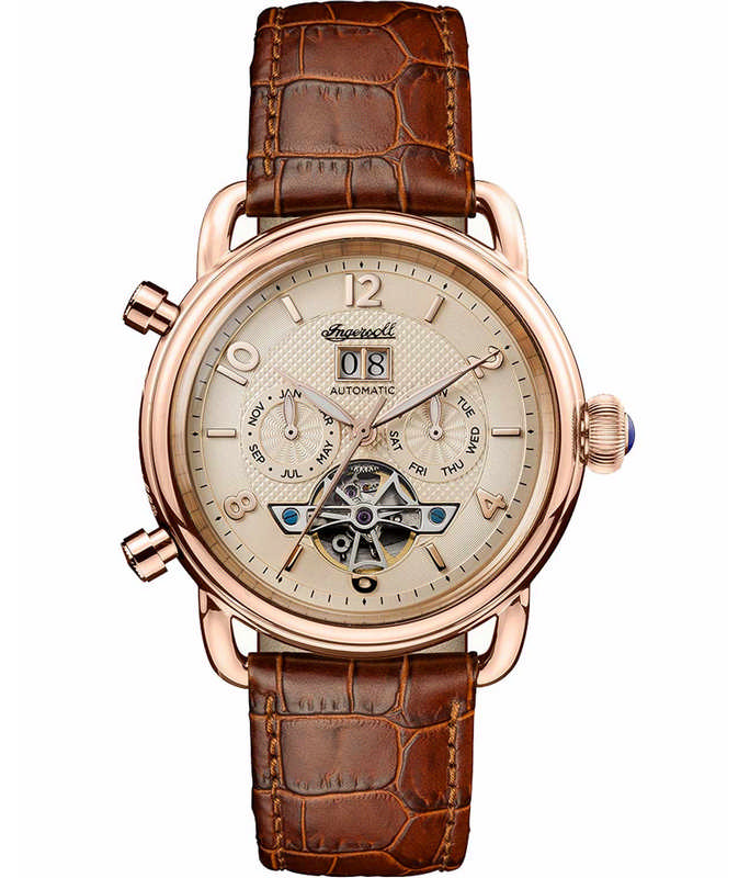 INGERSOLL The New England Automatic Brown Leather Strap I00901 Ingersoll Ανδρικά