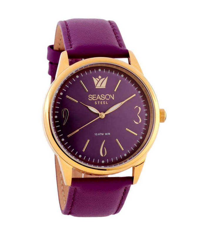 SEASON TIME Elegant Rose Gold Purple Leather Strap 634-14 Season Time  Γυναικεία 5e254c4b918