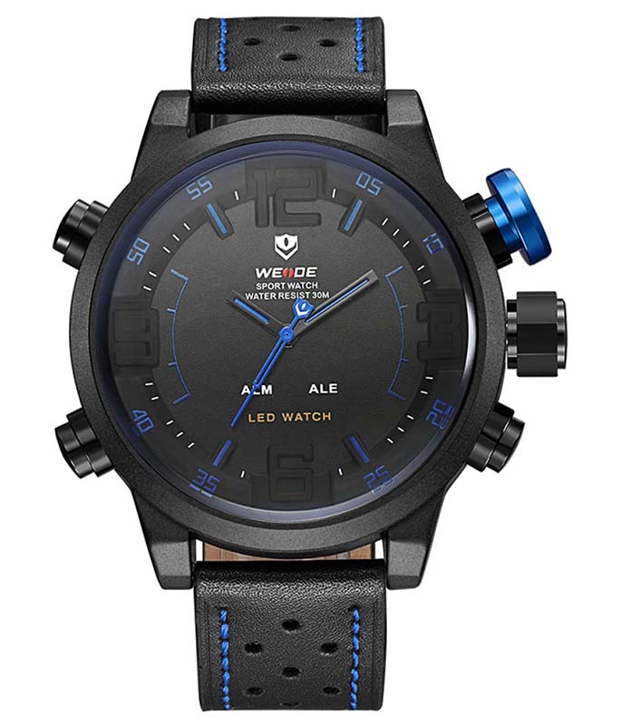 WIDE Leather Strap Black and Blue Dial Indicators WD10166 Weide Ανδρικά