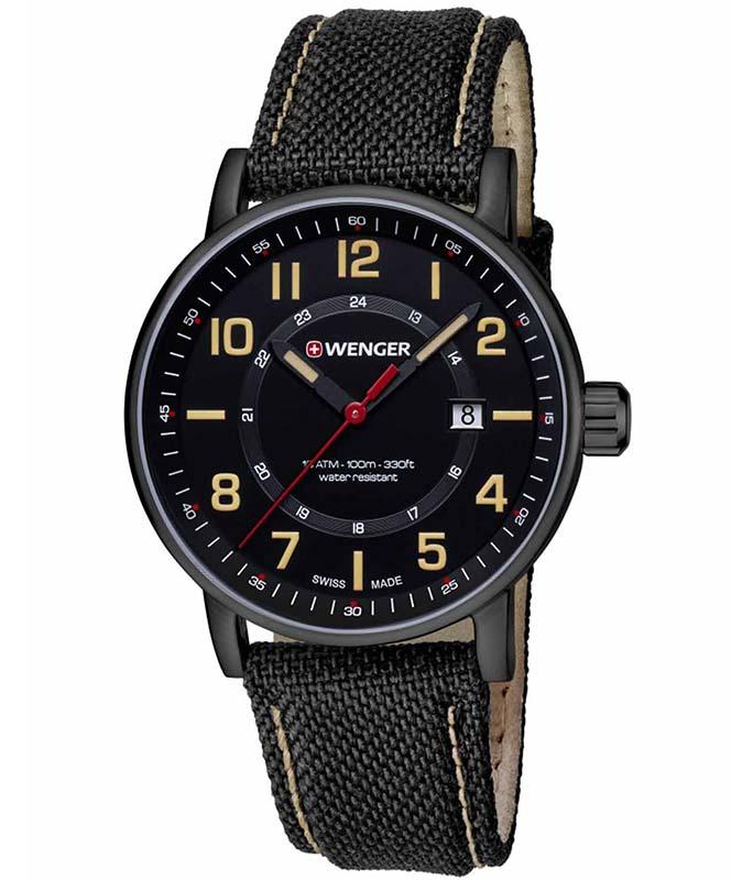 WENGER Attitude Black Fabric - Leather Strap 01.0341.110 Wenger Ανδρικά